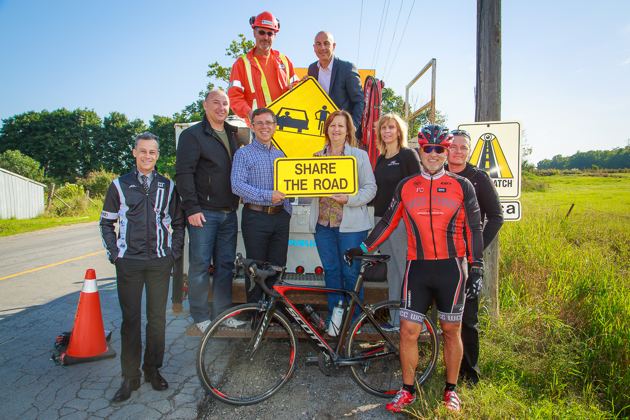 The first Share the Road sign goes up in York Region